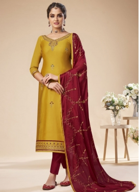 Maroon and Mustard Embroidered Work Art Silk Pant Style Pakistani Salwar Kameez