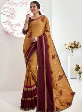 Maroon and Mustard Traditional Designer Saree