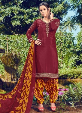 Maroon and Mustard Trendy Patiala Salwar Kameez For Casual