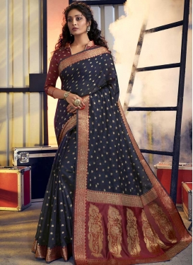 Maroon and Navy Blue Contemporary Style Saree For Casual