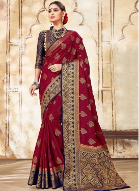 Maroon and Navy Blue Designer Contemporary Style Saree For Ceremonial