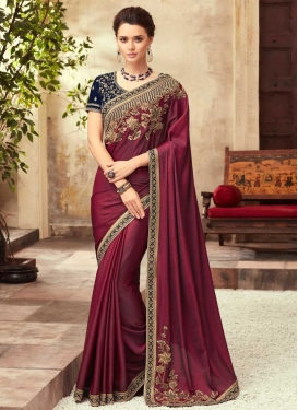 Maroon and Navy Blue Satin Silk Trendy Classic Saree For Ceremonial