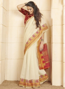 Maroon and Off White Woven Work Designer Contemporary Saree