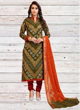Maroon and Olive Bandhej Print Work Trendy Churidar Salwar Suit