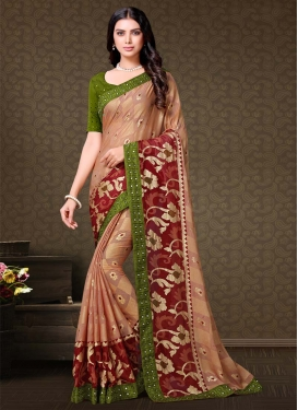 Maroon and Olive Designer Contemporary Style Saree For Festival