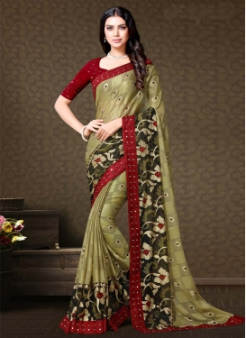 Maroon and Olive Faux Chiffon Contemporary Style Saree