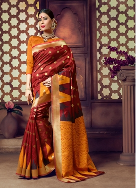 Maroon and Orange Art Silk Festival Silk Saree