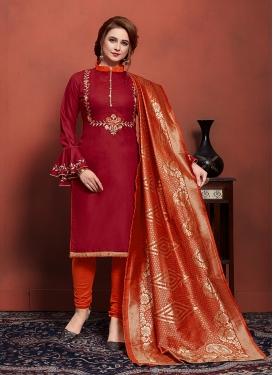 Maroon and Orange Cotton Churidar Salwar Suit