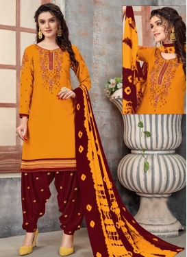 Maroon and Orange Cotton Designer Semi Patiala Salwar Suit