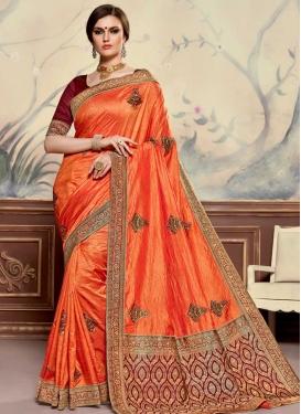 Maroon and Orange Designer Traditional Saree For Ceremonial