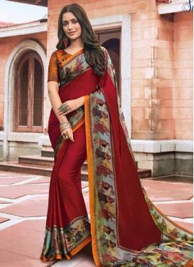 Maroon and Orange Digital Print Work Trendy Classic Saree