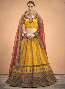 Maroon and Orange Satin A - Line Lehenga