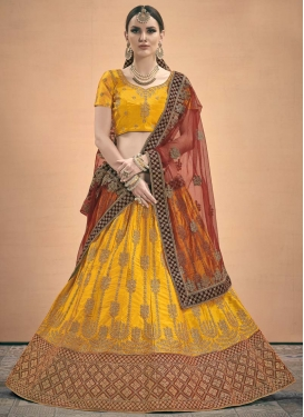 Maroon and Orange Satin A Line Lehenga Choli
