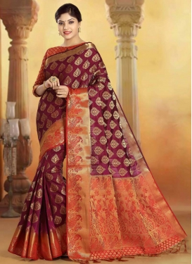 Maroon and Orange Woven Work Designer Contemporary Style Saree