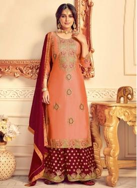 Maroon and Peach Chinon Palazzo Style Pakistani Salwar Kameez