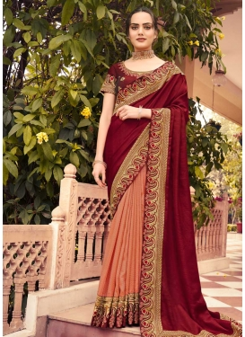 Maroon and Peach Half N Half Trendy Saree For Festival