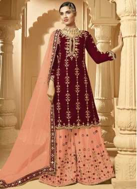 Maroon and Peach Palazzo Style Pakistani Salwar Suit