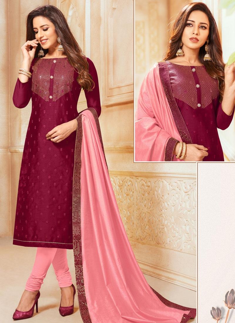 Maroon and Pink Cotton Silk Churidar Salwar Kameez