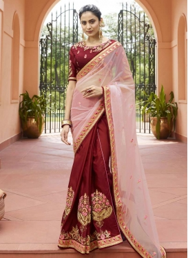 Maroon and Pink Satin Silk Half N Half Trendy Saree