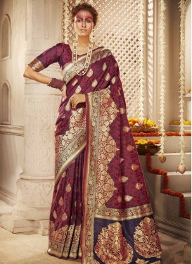 Maroon and Purple Banarasi Silk Designer Contemporary Saree