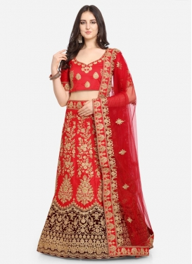 Maroon and Red A - Line Lehenga