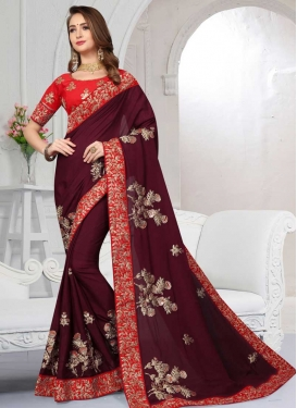 Maroon and Red Chiffon Satin Designer Traditional Saree