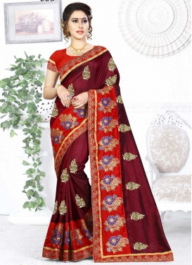 Maroon and Red Embroidered Work Designer Traditional Saree