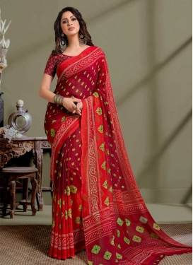 Maroon and Red Faux Georgette Traditional Designer Saree