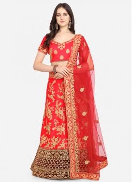 Maroon and Red Satin Silk Trendy Lehenga Choli