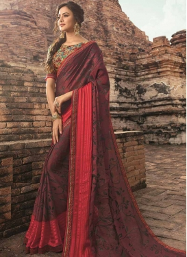 Maroon and Rose Pink Lace Work Contemporary Saree