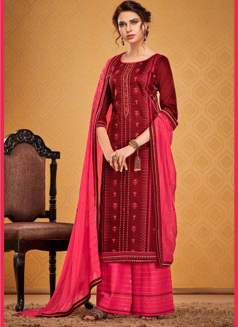 Maroon and Rose Pink Palazzo Style Pakistani Salwar Suit
