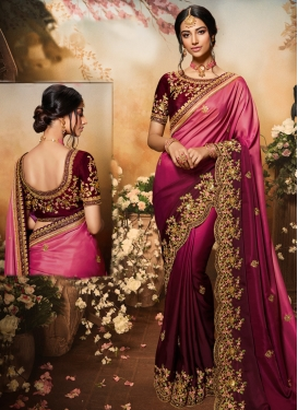 Maroon and Rose Pink Satin Georgette Designer Traditional Saree