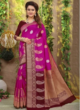 Maroon and Rose Pink Thread Work Traditional Designer Saree