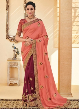 Maroon and Salmon Beads Work Designer Half N Half Saree