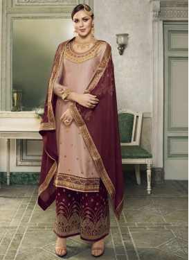 Maroon and Salmon Designer Kameez Style Lehenga For Festival