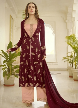 Maroon and Salmon Embroidered Work Designer Palazzo Salwar Kameez
