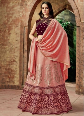 Maroon and Salmon Embroidered Work Silk A Line Lehenga Choli
