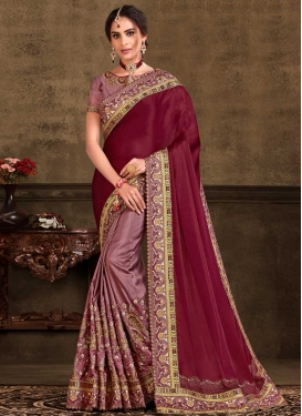 Maroon and Salmon Poly Silk Half N Half Trendy Saree