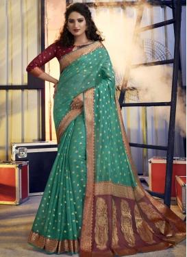 Maroon and Sea Green Woven Work Designer Contemporary Saree