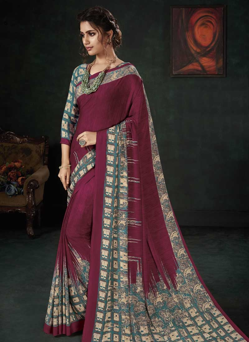Maroon and Teal Crepe Silk Designer Traditional Saree
