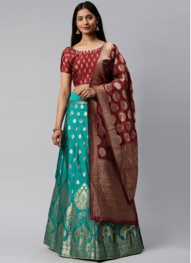 Maroon and Teal Designer A Line Lehenga Choli For Ceremonial