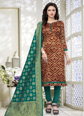 Maroon and Teal Trendy Churidar Suit For Casual