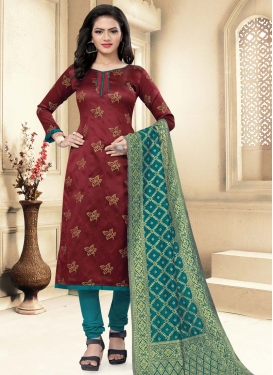 Maroon and Teal Trendy Straight Salwar Suit For Casual