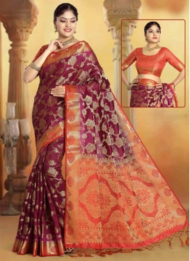 Maroon and Tomato Art Silk Designer Contemporary Saree