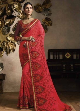 Maroon and Tomato Art Silk Traditional Designer Saree