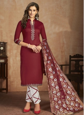 Maroon and White Cotton Pant Style Straight Salwar Kameez