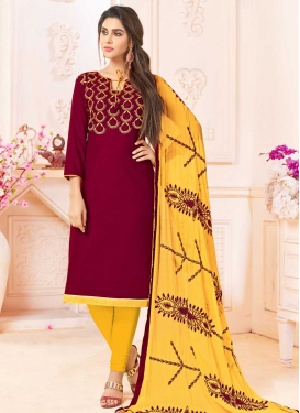 Maroon and Yellow Churidar Salwar Kameez For Casual
