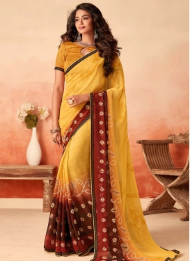 Maroon and Yellow Faux Georgette Designer Contemporary Style Saree