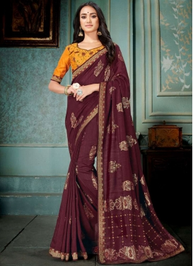 Maroon Art Silk Ceremonial Traditional Designer Saree