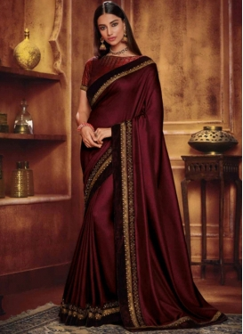 Maroon Ceremonial Satin Silk Traditional Saree